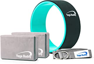 Yoga Wheel Block Strap Set - 5 Pack Yoga Kit with Back Roller Yoga Wheel 2 Yoga Blocks and Yoga Strap, Yoga Equipment and Accessories Yoga Roller Carry Bag