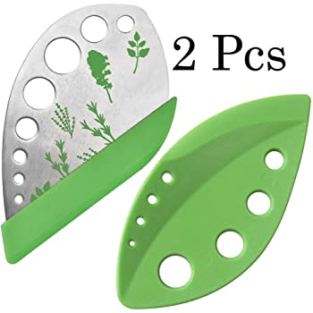 2 Pack Herb Stripper Tool 9 Holes Stainless Steel kale Leaf Stripping Zip Tools, Curved Edge Can be Used as a Kitchen Gadgets
