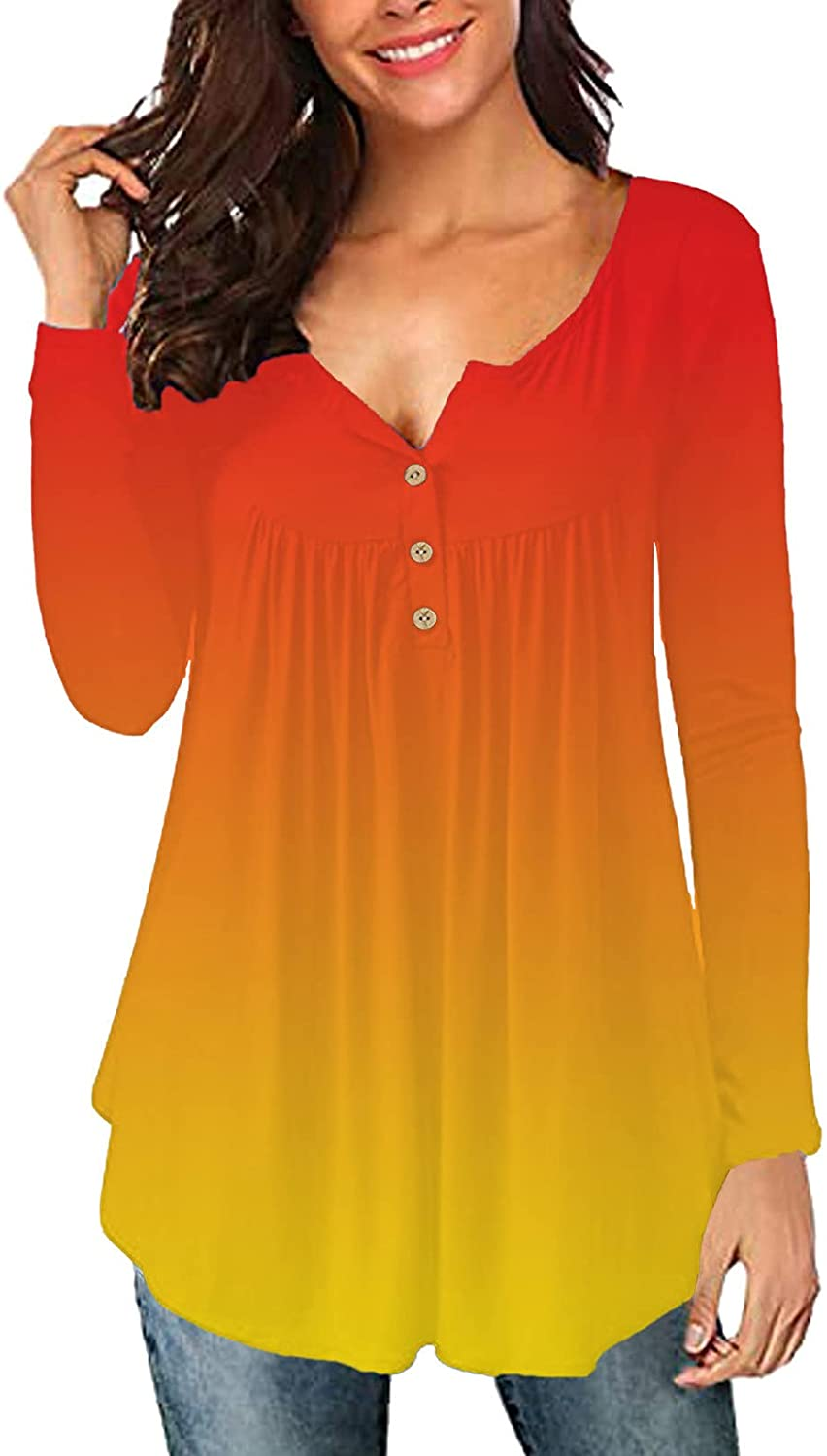 Plus Size Tops for Women, Women 's V Neck Botton Up Long Sleeve Gradient Casual Loose Blouse Tunic Shirts