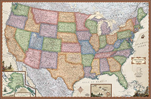 Antique Style United States Wall Map (Wall Map, Laminated) (USA Wall Map) (Illustrated map of the US)