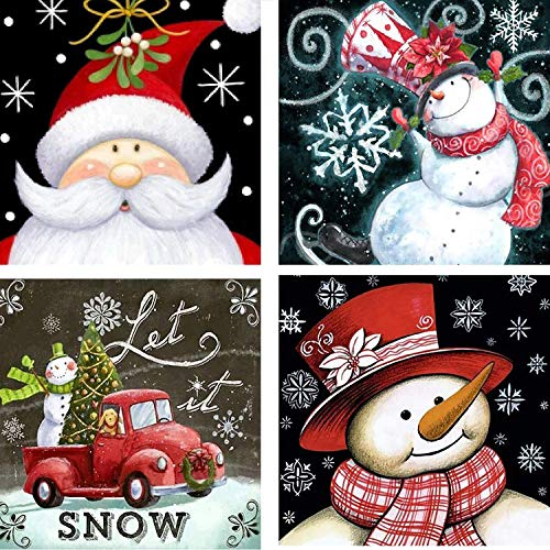 4 Pack 5D Full Drill Christmas Diamond Painting Kit DIY Diamond Rhinestone Painting Kits for Adults and Beginner Santa Claus Diamond Arts Craft for Home Room Wall Decoration 10 X 10 Inch