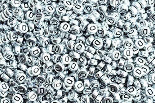 Argent rond plat Lot de 100 perles en acrylique rondes et plates (lettres mixtes ou simples) 7 mm, Acrylique, letter D, 7 mm