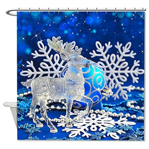 rioengnakg Schimmelresistent Stoff Kristall Blau & Weiß christmas Ornaments Polyester Duschvorhang wasserdicht, Polyester, #1, 72