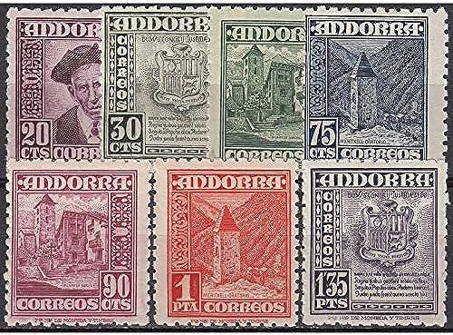 Goldhahn Andorra Spanische Post 1948 postfrisch  Nr. 44-50 Briefmarken für Sammler