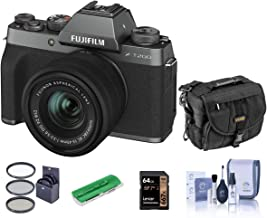 $723 » Fujifilm X-T200 Mirrorless Camera with FUJINON XC 15-45mm f/3.5-5.6 Power Zoom Lens, Dark Silver - Bindle with Camera Case, 64GB SDXC Card, Cleaning Kit, Card Reader, 52mm Filter Kit