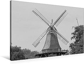Lienzo de gran calidad 90 cm x 60 cm horizontal, molino de viento en Bremen de pared, imagen sobre lienzo auténtico, impresión sobre ciudades alemanas en blanco y negro (CALVENDO Orte);CALVENDO Orte