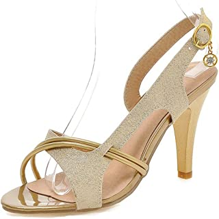 e595b7ce564 Aisun Women s Open Toe Slingback Sandals - High Heel Buckled - Stilettos  Glitter Sequined
