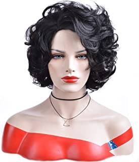 BERON Short Curly Wig Natural Wavy Wigs for Cosplay Costume Party Come with Wig Cap (Natural Black)