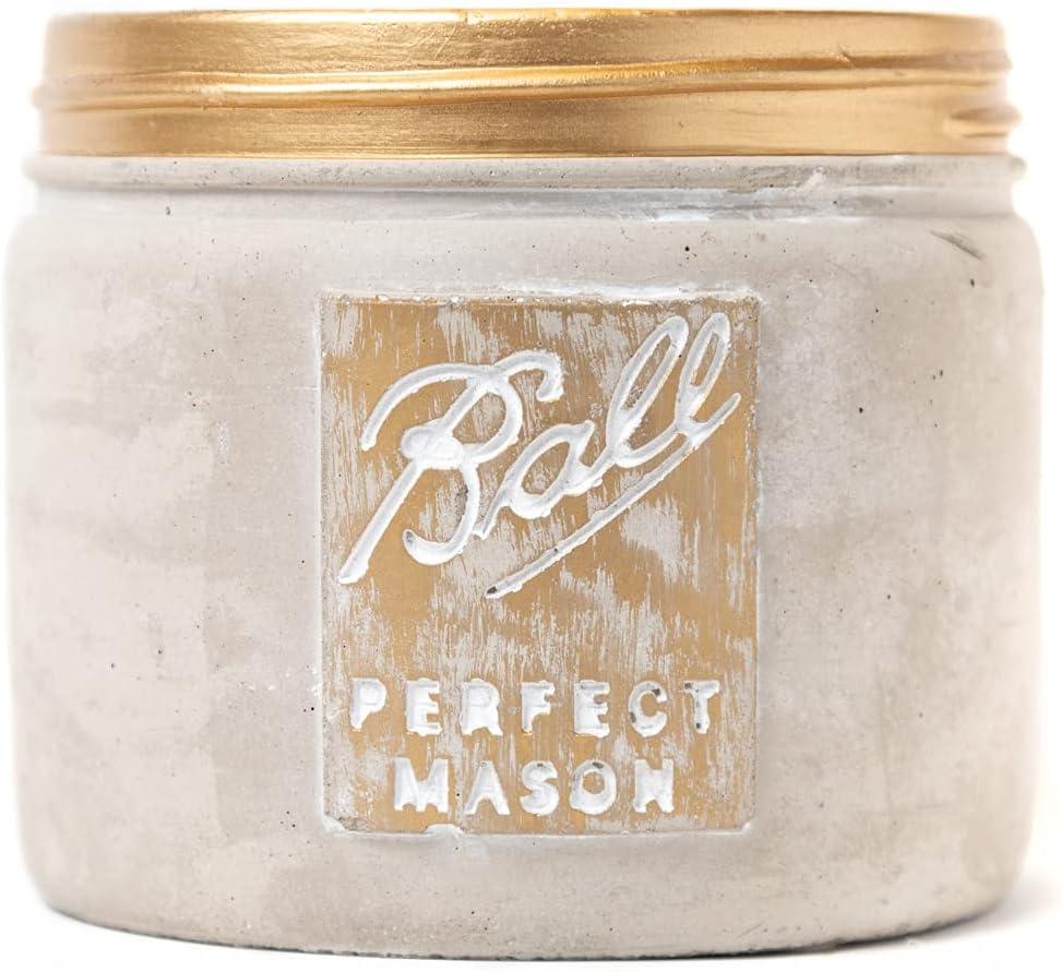 Rustic Mason Jar Ceramic Pot - Farmhouse Decor for Home, Kitchen, Living Room or Bathroom - Vintage Decorations for Coffee Table, Bookshelf, Mantle, Dining Table - Cute farmhouse Succulent Planter