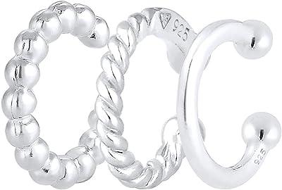 Elli Orecchini per donna set ear cuff geo look minimal in Argento Sterling 925