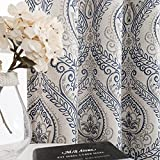 Jinchan Curtains Medallion Linen Textured Curtains for Living Room 84 Inch Length Drapes Damask Pattern Flax Draperies Window Treatments Room Darkening for Bedroom Curtain Panels 2 Panels Blue