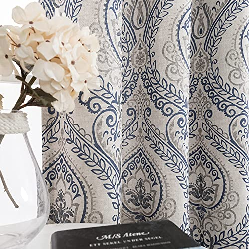 Medallion Linen Textured Curtains for Living Room 84 Inch Length Drapes Damask Pattern Flax Draperies Window Treatments Room Darkening Sliding Glass Doors for Bedroom Curtain Panels 1 Pair Blue