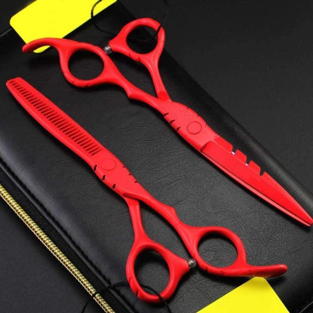 Lionha Professional Stainless Steel Barber-Scissors Hair Thinning Scissors Easy Hair Styling And Trimming Toothcut Flatcut 5.5Inch Or 6Inch-6Inchset 6inchset eAgF8