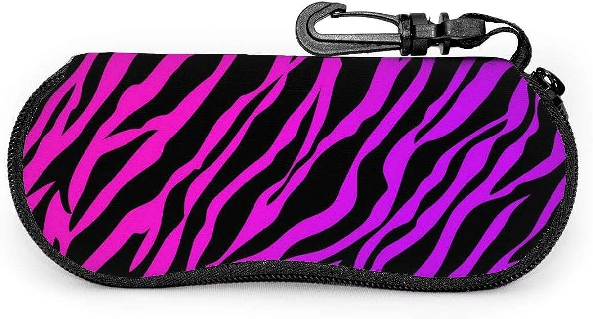Leopard Print Sunglasses Soft Case Ultra Light Neoprene Zipper Eyeglass Case With Key Chain