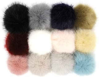 Furling Pompoms Faux Mink Fur Pompom Ball with Rubber Band for Knitting Crafts Hat Accessories 3.9in Pack of 12