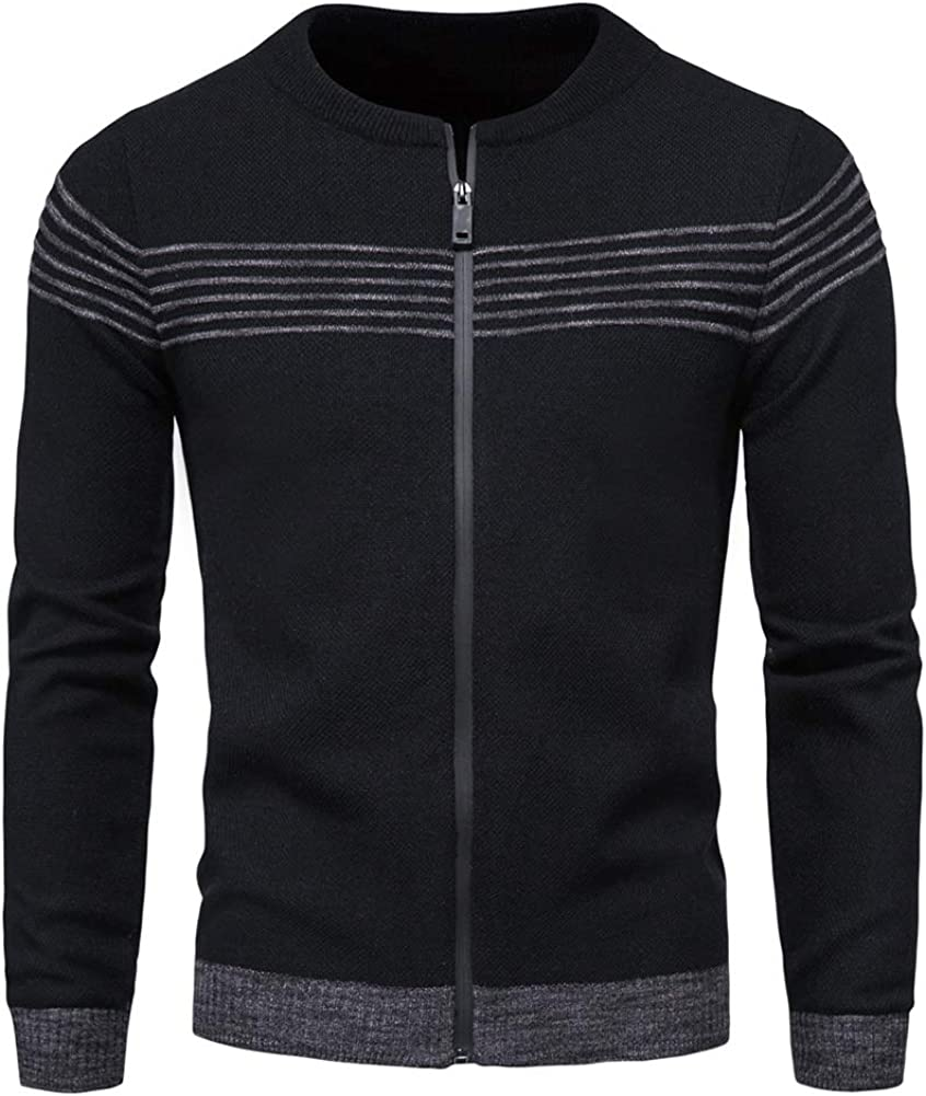AOWOFS MensMen's Cardigan Sweaters Full Zip Up Crew Collar Slim Fit Casual Knitted Sweater