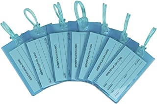 7 Pack TravelMore Luggage Tags For Suitcases, Flexible Silicone Travel ID Identification Labels Set For Bags & Baggage - Blue