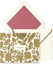 Kate Spade New York Thank You Card Set of 10 with Blank Interior and Envelopes (Golden Floral)