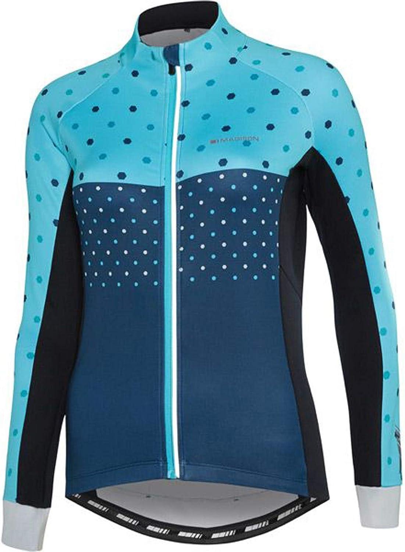 Madison Hex Dots blau Curaco Sportive Thermal Damen Langarm Radsport Trikot