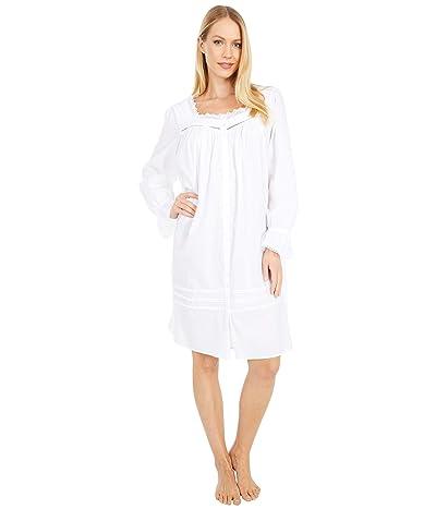 Eileen West Cotton Lawn Woven Long Sleeve Short Button Front Robe (White) Women
