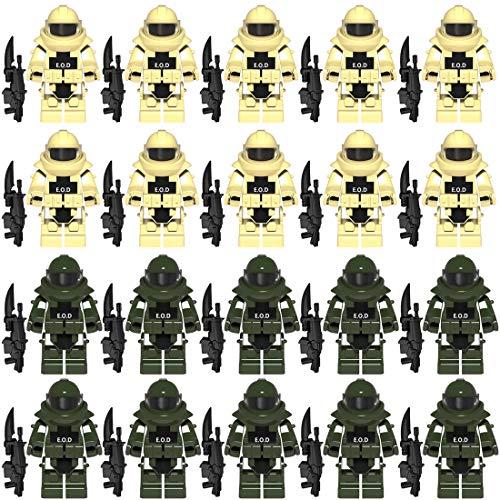 Vengo EOD Rüstung und Custom Waffen Set für Bundeswehr Pionier Mini Figuren SWAT Team Polizei, kompatibel mit Lego
