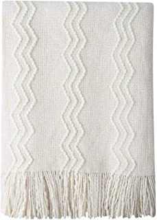 BOURINA Textured Solid Soft Sofa Throw Couch Cover Knitted Decorative Blanket, 60