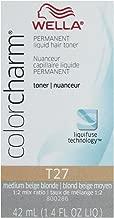 Wella Color Charm Permanent Liquid Hair Toner T27 Medium Beige Blonde, 1.4 Fl Oz