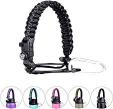 Red King Paracord Handle - Paracord Carrier Strap Cord with Safety Ring,Compass and Carabiner for Wide Mouth Water Bottles 12 Oz - 64 Oz - Ideal Flask Accessories for Hiking