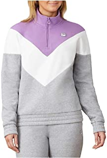Fila Women's 1/4 Zip Pullover Sweatshirt (X-Large, Grey, Lavender & White)