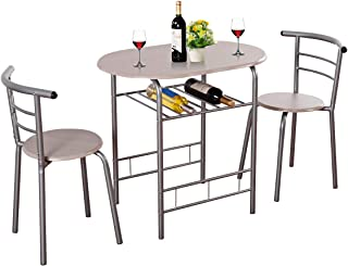 255cabab7943 Giantex 3 Piece Dining Set Compact 2 Chairs and Table Set with Metal Frame  and Shelf