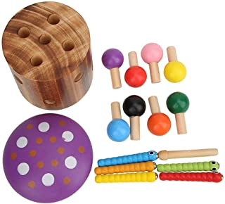 Rijke kleuren kinderen educatief speelgoed, houten magnetisch speelgoed, duurzaam voor kinderen baby(Mushroom catching ins...