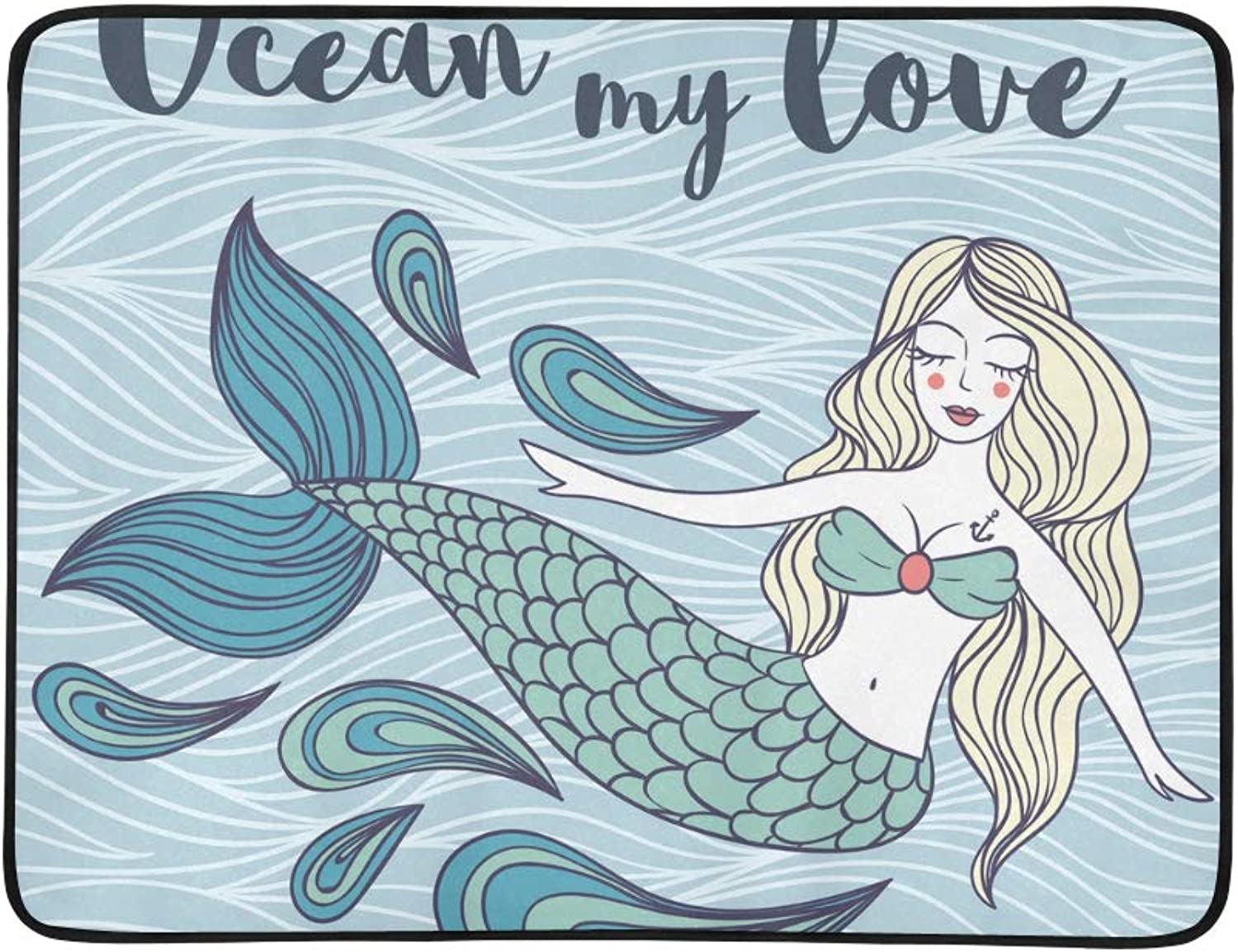 Beautiful Cute Mystical Mermaid Pattern Portable and Foldable Blanket Mat 60x78 Inch Handy Mat for Camping Picnic Beach Indoor Outdoor Travel