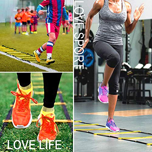 Teenitor 13 Rung Agility Ladder Speed Ladder Training Ladder for Soccer, Speed, Football Fitness Feet Training Carry Bag