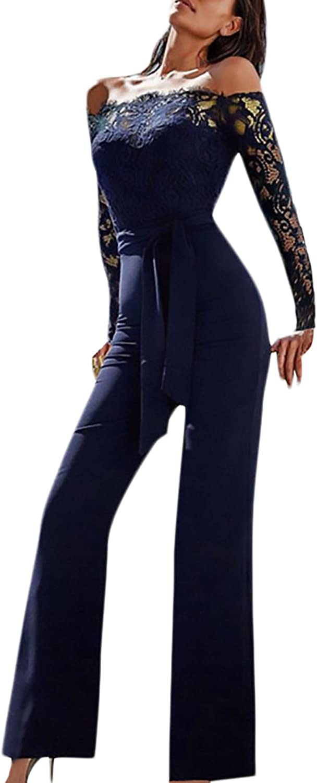 Laisla fashion Tuta Intera Donna Elegante Lunga Vintage Classiche Pizzo Cucitura Tute Da Cerimonia Sera Jumpsuit Manica Lunga Senza Spalline Slim Cocktail Festa Pantalone Tutine