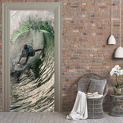 XXXCH 3D Deur Art Surfing Ideeën op zee 3D Deur Fotobehang Deur Behang Verwijderbare Zelfklevende Muren voor Slaapkamer Huis Deur Woonkamer Kantoormuur Stickers Home Decoratie 90x200cm