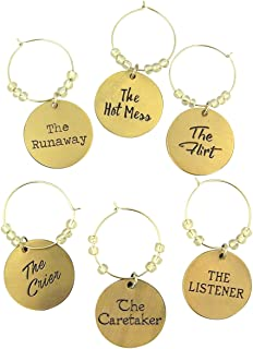 Gold Tone Engraved Metal Wine Glass Charm Rings, Set of 6