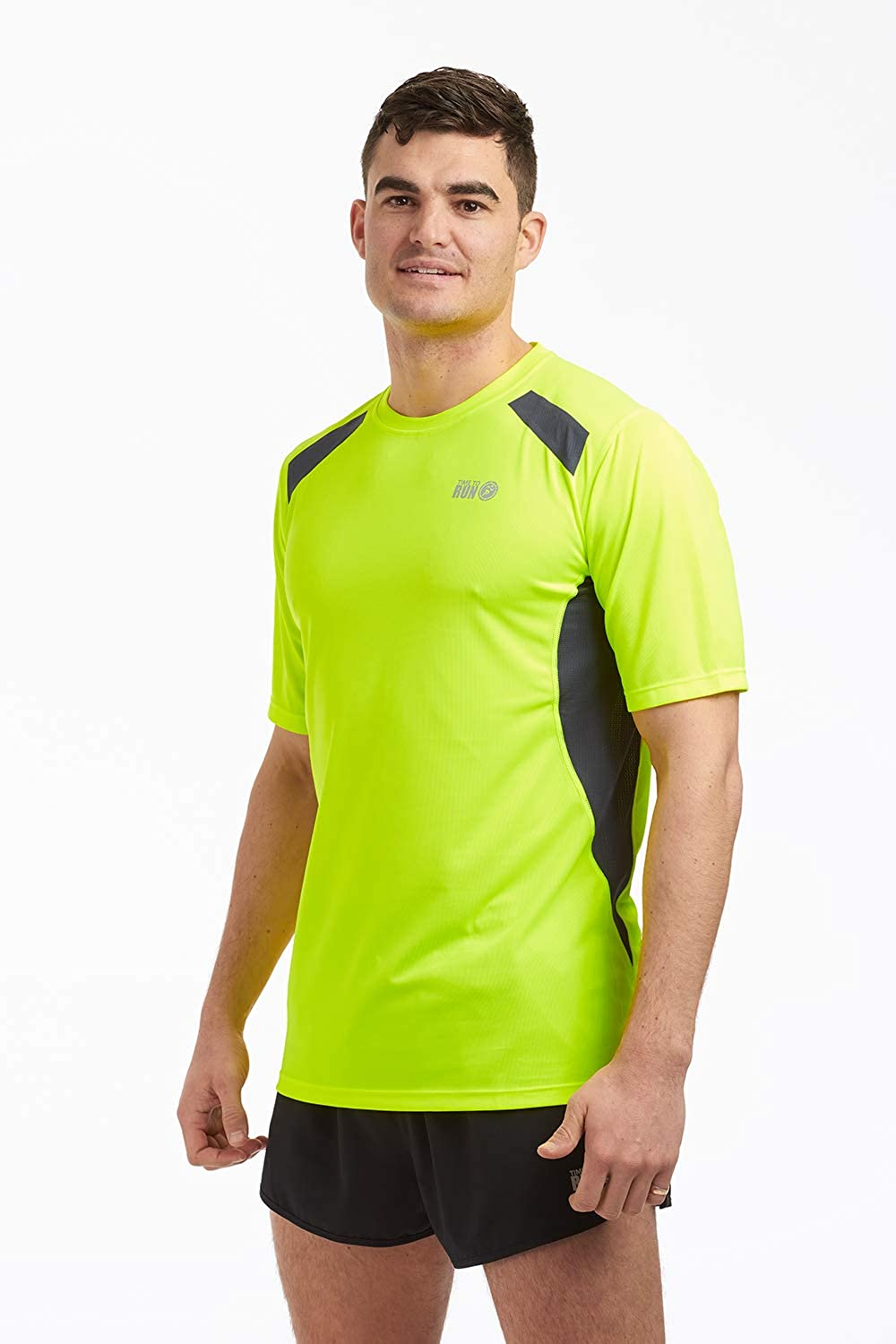 Time to run Men's Pace Spirit Quick Dry Short Sleeved Technical Running Gym Workout T Shirt