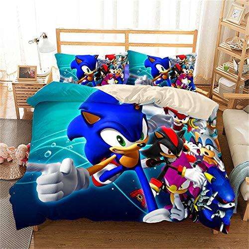 MYLZZ Juego de ropa de cama con dibujos animados 'El Hedgehog', suave y lujoso, de microfibra, adecuado para los fans del anime, regalos (L05,220 x 240 cm + 50 x 75 cm x 2)