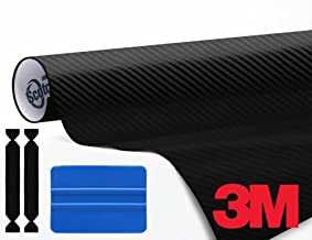 VViViD 3M DI-NOC Black Carbon Fibre Vinyl Film 48 Inch x 1ft Roll Complete Wrap Toolkit Including 1x Blue Squeegee 2X Protective Felt Edge Decals