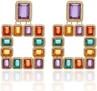 New Women Statement Multicolored Squared Earrings Fashion Vintage Gold Drop Earrings for Women Jewelry Gift