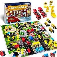 iZoeL Adventskalender Jungen 24 Überraschung Baufahrzeug Feuerwehrfahrzeugen Schulbus Weihnachtskalender Geschenk für Kinder ab 4 -12 Jahre