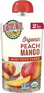 Earth's Best Organic Baby Food Puree Pouch, Peach & Mango, Stage 2 For Babies 6 months & Older, 4.2 Oz (Pack of 12) [Packa...