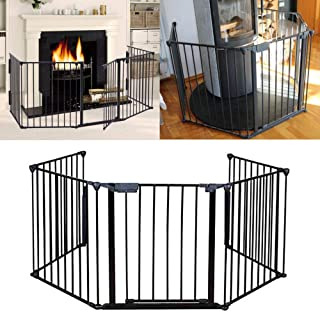 Apelila Fireplace Fence Baby Safety Fence Hearth Gate BBQ Metal Fire Gate Pet Dog Cat Christmas Tree Fence Get-Trough Door