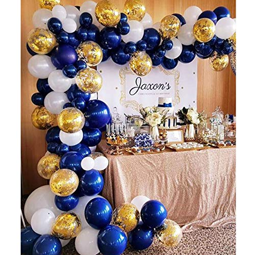 Soonlyn Navy Blue and Gold Balloons 110 Pcs 12 Inch Confetti Balloons White Latex Balloon Garland Kit with Balloon Accessories for Baby Shower 1st Birthday Wedding Party