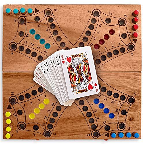 KHAPLO ® – Tock Jeux de société - Tac TIK - Jeux pour 2, 3 ou 4 Joueurs - Jeu de société Famille - Jeux des Petits Chevaux avec Cartes - Tock Jeu de Societe - Jeux de Plateau Bois - Boardgame
