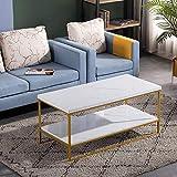 Bonnlo Modern Coffee Table,Faux Marble Top Rectangular...
