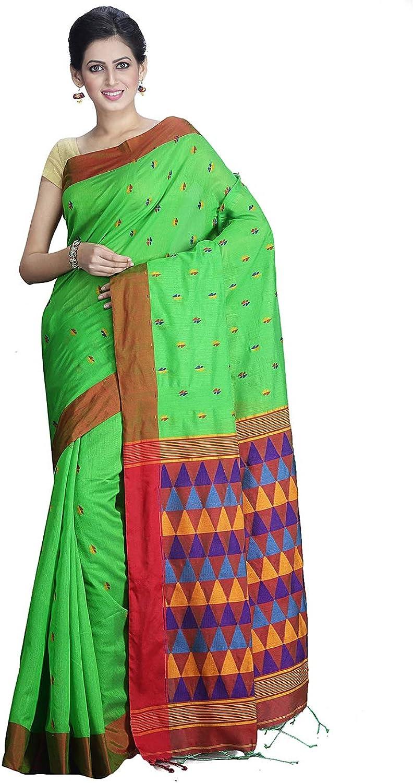 Exclusive Matka Silk Green Coloured Handloom Saree Blouse