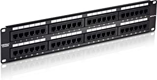 TRENDnet 48-Port Cat5/5e Unshielded Wallmount or Rackmount Patch Panel, Backwards Compatible with CAT 3/4/5 Cabling, TC-P48C5E