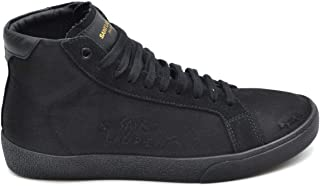 Luxury Fashion   Saint Laurent Men MCBI38178 Black Suede Hi Top Sneakers   Season Outlet