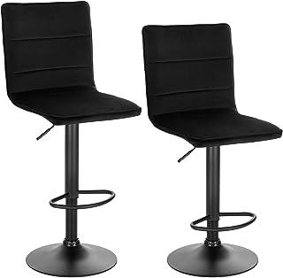 WOLTU BH288sz-2 Barkrukken Set van 2 Zwart met rugleuning,Barstoelen verstelbare en Draaibare in Fluweel